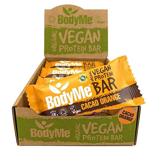 BodyMe Barrette Proteiche Vegan Bio | Crudo Cacao Arancia | 12 x 60g Barretta Proteica | Senza Glutine | 16g Proteine Vegane Complete 3 Proteine Vegetali Tutti Amminoacidi Essenziali | Snack Proteici