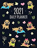 Pug Planner 2021: Funny Tiny Dog Monthly Agenda - For All Your Weekly Meetings, Appointments, Office & School Work - January - December Calendar - ... Scheduler with Flowers & Pretty Pink Hearts