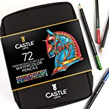Castle Arts 72 Crayons d'aquarelle dans leur étui à fermeture éclair, pour de...