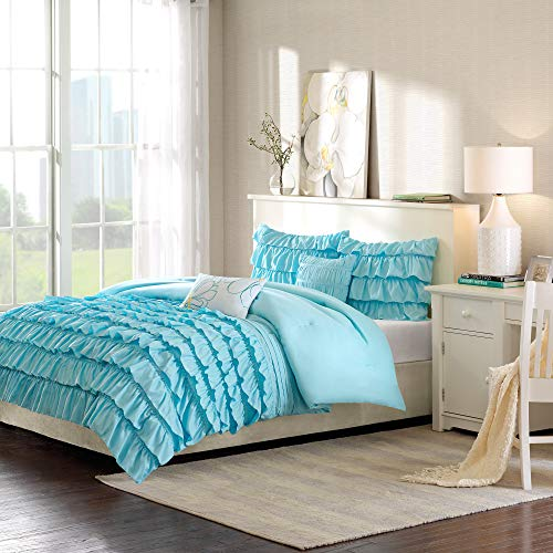 Intelligent Design Waterfall Comforter Reversible Solid Lush Ruffled Stripe Shabby Chic Ultra Soft Microfiber Down Alternative Pleated Decor Pillow Bedding Set, Twin/Twin XL, Blue, 4 Piece
