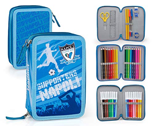 I Love You Napoli ILYN131 Astuccio Triplo Riempito, 44 Accessori Scuola, 20 Centimetri, Multicolore