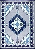 BalajeesUSA Outdoor Patio Rugs Clearance 6'x9' (183 cm x 274 cm) Nv Blue, Grey, White 20140