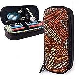 Roberson - Apellido americano Estuche de lápices de cuero de gran capacidad Estuche de lápices Estuche de papelería Organizador Bolígrafo de maquillaje portátil Bolso de cosméticos portátil