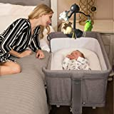 3 in 1 Baby Bassinet Bedside Sleeper, Mingyall Variable Baby Playpen, Portable Travel Baby Bedside Crib with 5 Adjustable Height, Arm Reach Co Sleeper Crib for Newborn Baby and Infant