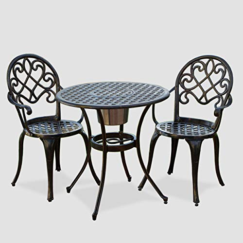 Christopher Knight Home Angeles Outdoor Cast Aluminum Bistro Furniture Set with Ice Bucket, 3-Pcs Set, Copper