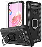 SunStory Compatible with LG K51 Case with HD Screen Protector [ 2 Pack ],[Military Grade Protective ] Soft TPU Shockproof LG Q51 Phone Case with Finger Ring Holder Kickstand Case for LG K51 (Black)
