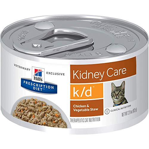 Hill's Prescription Diet k/d Kidney Care Chicken & Vegetable Stew Canned Cat Food, 2.9 oz, 24-pack wet food, White (3393)