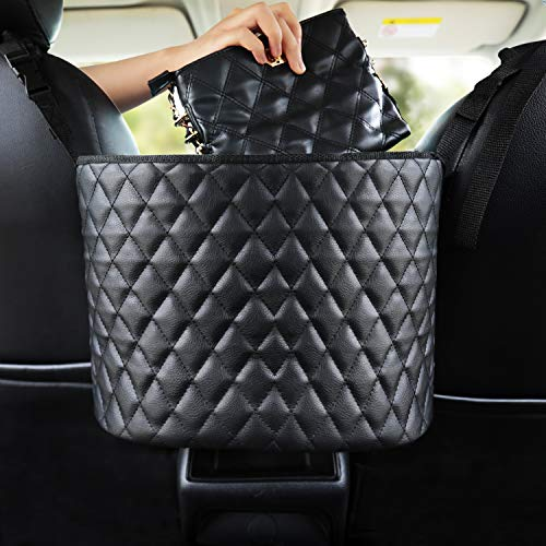 51PEuJPlCEL INCREASE EXTRA SPACE STORAGE - The car handbag holder is a new storage organizer, it not only perfectly covers the interval space between the front two seats, but also utilizes unused space between and behind the front seats as a high-quality storage. This a simple fix to stop your purse or other items from dumping out or rolling around. This car hand bag holder is very convenient to organize and store the items such as phone, tissue, CD, water cup,mp3, charging cable, newspaper, magazine etc. ENSURE SAFE DRIVING - Car pocket handbag organizer can be as a special barrier that prevents naughty kids or pets in the back seat disturbing your daily drives. The handbag holder also helps reduce and prevents distraction while driving by providing easy access to your belongings without taking your eyes off the road. Our car storage bags makes getting your purse so easier, no longer have to ask someone riding in your back seat to hand you purse or some else you want. COMPATIBILITY–Please kindly note before buying. This car pocket handbag organizer compatible with most off-road vehicles, SUV UTV and other vehicles with headrest rod and console. It is not suitable for some car consoles, such as side-opening armrest box, no armrest box, double-opening armrest box, sports armrest box. Our car seat storage organizer could as a great gift for people who usually throw their purses or bags in the backseat and have to search for them when they need them.