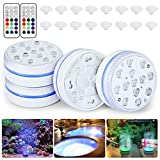 Orelpo Submersible LED Pool Lights, Waterproof Pond Lights with RF, Color Changing Pond Lights, Underwater Lights for Swimming Pool, Bathtub, Hot Tub, Fish Tank, Party (4 pcs)