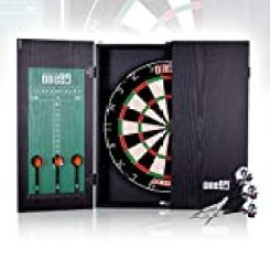 ONE80 All-in-One Dartgame Center with Self-Healing Sisal Dartboard & Multifunctional Cabinet. 12 Steeltip Darts and Mounting Kit Included (Bristle Dartboard Cabinet Set)