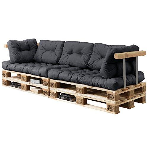 [en.casa] Divano paletta euro-sof - a 3 posti con cuscino - [grigio scuro] set completo incl....