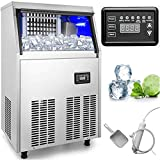 VEVOR 110V Commercial Ice Maker 132 LBS in 24 Hrs Stainless Steel with 33lbs Storage Capacity 45 Cubes Auto Clean for Bar Home Supermarkets, 132LBS/24H, Includes Scoop and Connection Hose