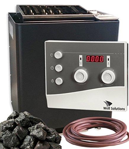 Well Solutions Saunaofen Bi-o Mat Premium 9 kW - Made in Germany/Saunasteuerung K3 / Saunasteine / 2m Silikonkabel für Ofen und Verdampfer/Original Well Solutions