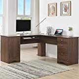 Merax L-Shaped Desk Corner Computer Desk with Keyboard Tray, 3 Drawers and Storage Shelves 66' L for Home Office