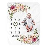 JMITHA Couverture pour bébé avec motif de jalon mensuel pour photo de Noël Fond super doux pour nouveau-né