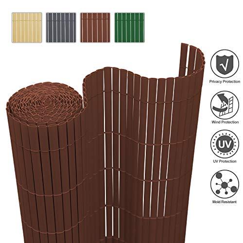 wolketon Sichtschutzmatte PVC Sichtschutzzaun Sichtschutz Windschutz UV-beständig Wetterfest / 160x1000cm Braun/PVC Zaun für Garten Balkon Terrasse