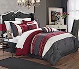 Chic Home Carlton 6-Piece Comforter Set, Queen Size, Burgundy