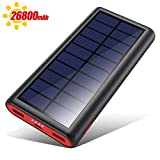 VOOE Powerbank Solare 26800mAh, 【2020 Chip Intelligente】 Caricabatterie Solare Portatile Caricatore Solare Impermeabile Batteria Esterna 2 Porte 3.1A Ricarica Rapida per Cellulare iPad Tablets