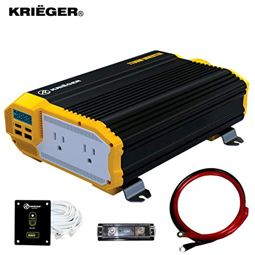 KRIGER 1100 Watt 12V Power Inverter Dual 110V AC Outlets, Installation Kit Included, Automotive Back Up Power Supply For Blenders, Vacuums, Power Tools MET Approved According to UL and CSA.