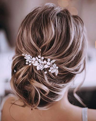 Unicra Silver Wedding Crystal Hair Vines Flor Hoja Tocados A