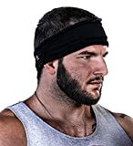 GearTOP Headbands for Men & Women, Sweatband, Face Mask, Multi-Functional Headband for Yoga, Workout, Crossfit, Running, Sports & Outdoors - Elastic, Sweat-Wicking, Breathable, Cooling (Black)