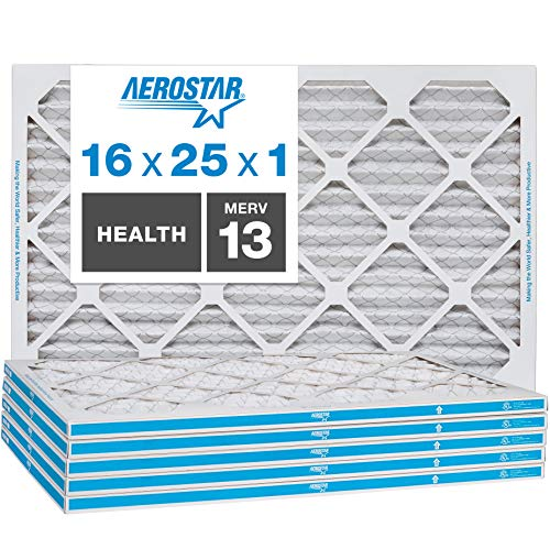 Aerostar Home Max 16x25x1 MERV 13 Pleated Air Filter, Made in the USA, Captures Virus Particles, 6-Pack