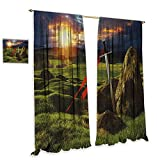 cobeDecor King Blackout Curtains Arthur Camelot Legend Myth in England Ireland Fields Invincible Myth Image Noise Reducing 72' Wx63 L Green Blue and Red