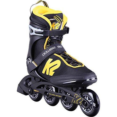 K2 Skates Herren Inline Skate Power 80 M  — Black - Yellow — EU: 42 (UK: 8 / US: 9) — 30D0401