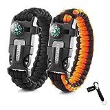 HONYAO Bracelets de Survie, Kits de Paracorde de Survie avec Boussole, Sifflet, Grattoir et Silex, Bracelet Multifonctions pour Randonnée Camping Urgence ou Autres Activités de Plein Air
