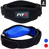 FitX Tennis Elbow Brace with Strap for Tendonitis Golfers Elbow Brace for Men Women Compression Pad Arm Forearm Muscle Pain Relief Weight Lifting Band Free E-Book