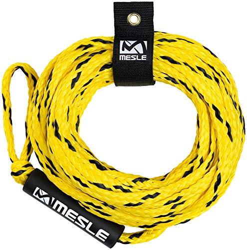 MESLE Schleppleine Pro 4P 60\', mit Schwimmer, schwimmendes Schlepp-Seil für 4-Personen, gelb-schwarz, Länge 18,3 m, Polyethylen, Zug-Seil, Schwimmfähig, jeweils Auge an Enden, Fun-Tube, Tow-able