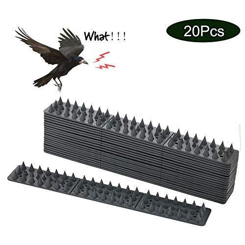 EXLECO 20 Stück Vogelabwehr 30cm 6m Plastik Grau Spatzenabwehr Vogel Spikes Taubenabwehr Birds Spikes Haus-Wildtierabwehr