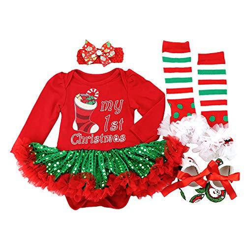 BabyPreg Neonate Il Mio Primo Natale Babbo Costume del Partito del Vestito 4PCS (3-6 Mesi, Calzino Verde)