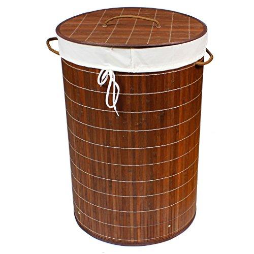BigDean Wäschekorb Bambus 75l Rund Dunkelbraun 60x40 Wäschetruhe Wäschesammler Wäschebox Wäschesack