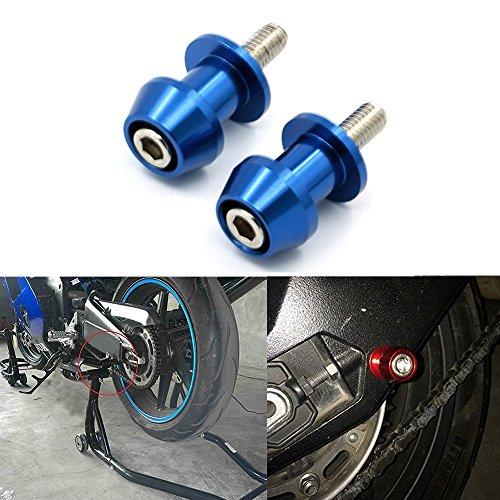 ViZe Diábolos Moto Tornillo Apoyo de la Motocicleta para Street Bikes Sport Bikes (Azul, 10MM)