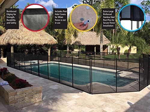 WaterWarden WWF200 4 Foot Pool Fence, 4' (48' H), Black