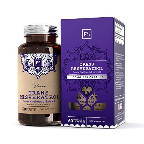 FS trans-resveratrolo [150 mg], estratto di polifenoli da Polygonum Cuspidatum   60 capsule vegane   ALTA POTENZA   Integratore naturale e potente antiossidante — Senza OGM, glutine e latticini