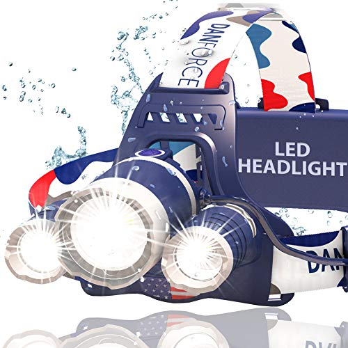 DanForce Headlamp. USB Rechargeable LED Head Lamp. Ultra Bright CREE 1080...