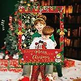2 in 1 Double Face Noël Cadre Photo Selfie Papier Accessoires Photobooth pour la fête de Noël et du Nouvel an Fournitures de fête