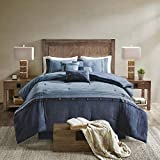 Madison Park Boone 7 Piece Faux Suede Comforter Embroidered Pillows, Bedskirt and Shams Cabin Style Soft Down Alternative Hypoallergenic All Season Bedding-Set, Queen, Dark Navy