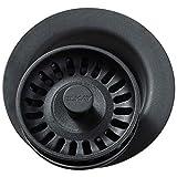 Elkay LKQD35BK Polymer Disposer Flange with Removable Basket Strainer and Rubber Stopper, Black
