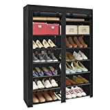 ERONE Shoe Rack Storage Organizer , 28 Pairs Portable Double Row with Nonwoven Fabric Cover Shoe...
