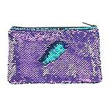 HeySunEstuche organizador de cosméticos con lentejuelas para mujeres y niñas, con purpurina, 7.9 x 1.9 x 5.5 in, Púrpura, 1.00[set de ]