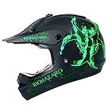 Motocross Youth Kids Helmet Motorcycle Helmet Dirt Bike Motocross ATV Helmet, DOT Approved Offroad Street Helmet(Biohazard Green,XL)