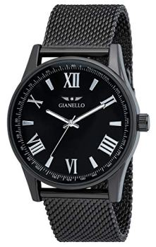 Gianello Mens GNL7710GN Black Mesh 42mm Tachymeter Bezel Watch
