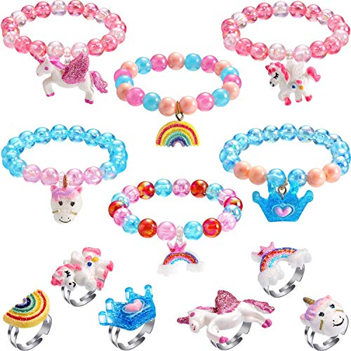 MAYCREATE® 12 Pec Unicorn Bracelet Ring Set, Shiny Rainbow Jewellery Set Unicorn Crown Beaded Bracelet with Colorful Adjustable Rings Gifts for Teenage Girls