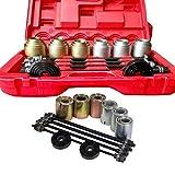 DIFU – Juego de herramientas de rodamientos de goma 26 unidades, rodamiento de eje de suspensión de manillar, cojinetes de cojinetes y extractores para instalación y desmontaje de casquillos y juntas