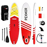 PEXMOR Inflatable Stand Up Paddle Board for Fishing Yoga Paddle Boarding with Premium SUP Accessories & Carry Bag, Surf Control, Non-Slip Deck | Youth & Adult Standing Boat 10'6' X 30' X 6' (Red)