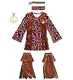 70s Hippie Costume Set,Fringe Vest,Peace Sign Necklace,Indian Flower Headband Ankle Socks (S/M)