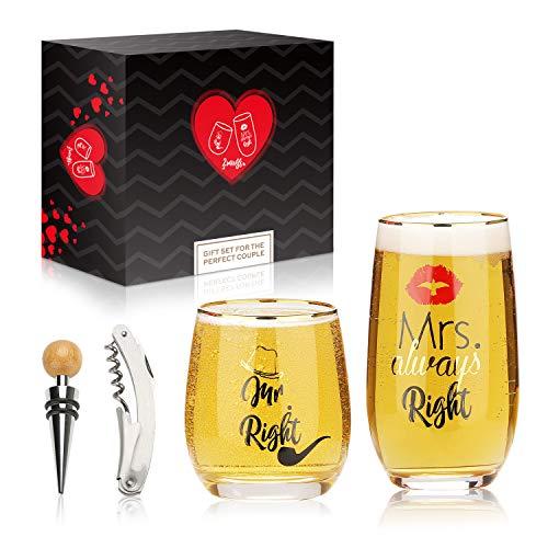 Mr Right e Mrs Always Right Birra Bicchiere da vino Coppie Tazze Set regalo con apribottiglie, tappo del vino per il fidanzamento Matrimonio Doccia nuziale Sposi da sposare Anniversario